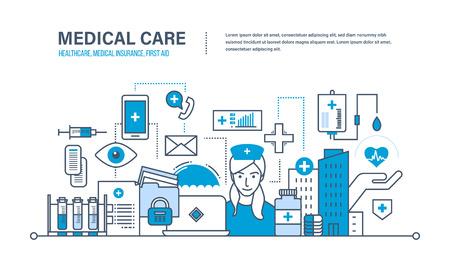Medicina moderna y tecnología, atención médica, atención médica y seguro médico, proteger y garantizar la seguridad de los pacientes, primeros auxilios. Ilustración de los doodles del vector, elementos del infographics.