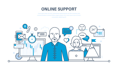 Hour technical support, call center, consultation and communication, information technology, communication tools. Illustration thin line design of vector doodles, infographics elements.