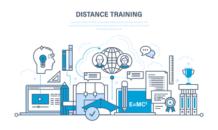 training programs: Modern education and learning technologies, remote online courses, communications, literature and training programs, lectures. Illustration thin line design of vector doodles, infographics elements.