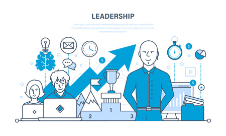 career success: Leadership and leadership skills, career success and education, achieving new heights and development, communication. Illustration thin line design of vector doodles, infographics elements.