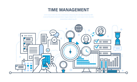 Time management, planning and organization of working time, work process control and routine management, communications. Illustration thin line design of vector doodles, infographics elements. Vettoriali