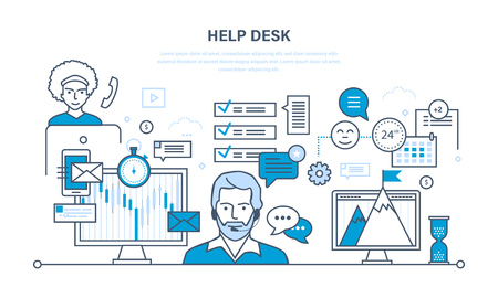 Technical support, help desk, system consulting clients, means of communication and modern information technologies. Illustration thin line design of vector doodles, infographics elements.