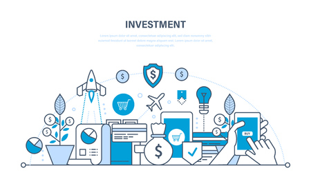 Financial investments, marketing, analysis, security of deposits, guarantee of security financial savings and money turnover. Illustration thin line design of vector doodles, infographics elements.