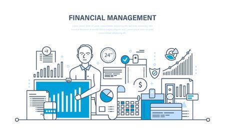 Financieel beheer, analyse en marktonderzoek, deposito's, financiële bijdragen en besparingen, statistieken en boekhouding. Dunne lijn ontwerp van vector doodles, infographics elementen.
