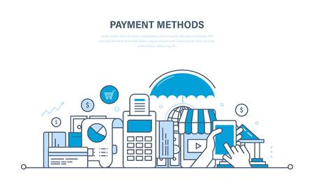 Methoden en vormen van betaling, betaalkaarten en systemen, moderne online technologische betaling, beveiliging van financiële transacties. Illustratie dunne lijn ontwerp van vector krabbels, infographics elementen.