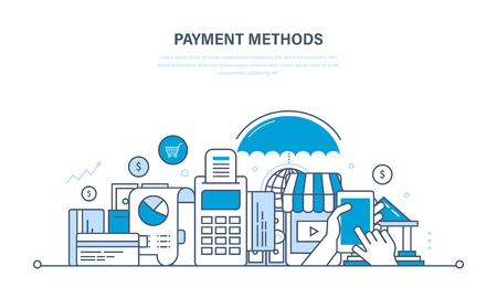 Methods and forms of payment, payment cards and systems, modern technology online payment, security of financial transactions. Illustration thin line design of vector doodles, infographics elements. Vettoriali