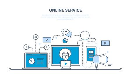 Tecnologia dell'informazione moderna, comunicazioni, servizi online, media, business, sviluppo. Sconti e promozioni. Illustrazione linea sottile disegno di doodles vettore, elementi infographics.