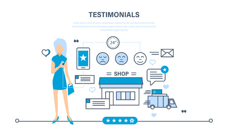 recommendation: Review of job the store, rating, review, recommendation. Cycle of purchase, from product selection, payment prior to delivery. Illustration thin line design of vector doodles, infographics elements. Illustration