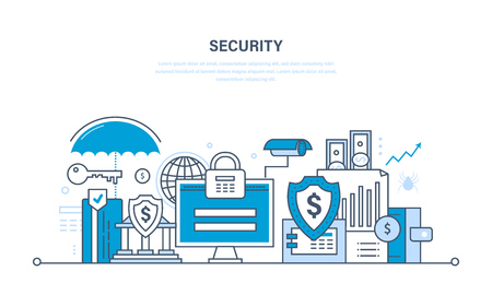 Modern technologies, security and data protection, payment security guarantee, finance and contributions, information. Illustration thin line design of vector doodles, infographics elements.