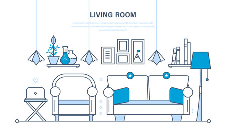 home furnishings: The comfortable living room, a room for reception of guest, home furnishings and comfortable interior, the furniture, decor items. Illustration thin line design of vector infographics elements.