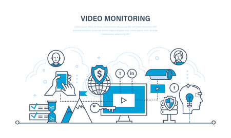 information management: Modern information technologies, protection, tracking, video monitoring, control, management of data and information, media. Illustration thin line design of vector doodles, infographics elements. Illustration