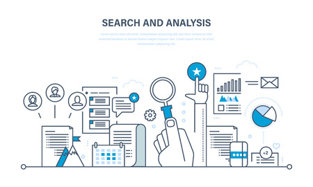 marketing research: Search and analysis of information, communication and services, marketing and research, information, statistics and analytics. Illustration thin line design of vector doodles, infographics elements.