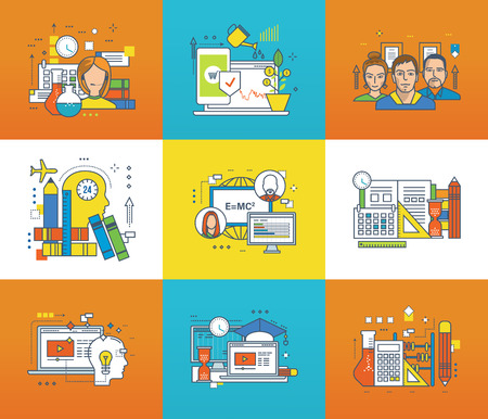 researches: Modern technology, technical support and consultancy, investments, working in team, education, science, creativity, management and control icons set. Flat line icons for infographics design elements.