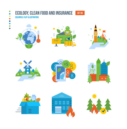 food preservation: Nature conservation and environmental protection, healthy food, environment protection service, preservation of natural resources icons set over white background. Colorful flat illustrations. Illustration