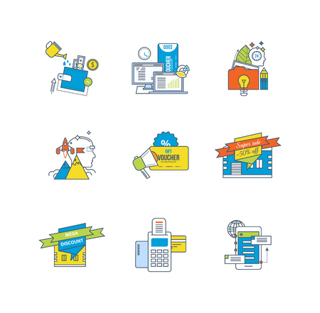 sales growth: Finance and financial investment, statistical analysis, trading systems, discounts, payment systems, payment methods icons set over white background. Flat line icons for infographics design elements. Illustration
