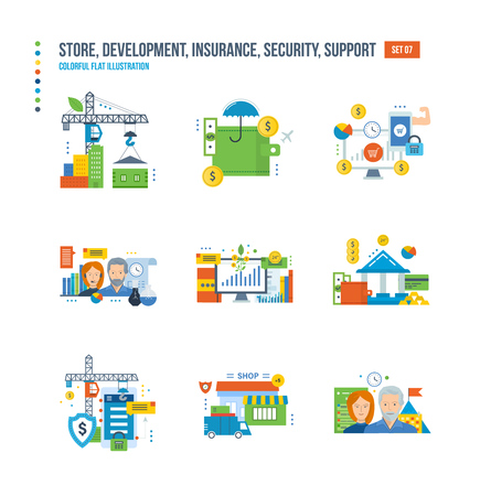 contributions: Shop, development, finance, communication, teamwork, investment, savings, cycle the buying process, insurance, protection and support icons set over white background Colorful flat illustrations Illustration