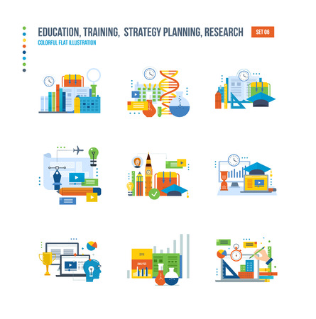 information analysis: Modern education, research and analysis of studies, school of foreign languages, information technology, communications icons set over white background. Colorful flat illustrations.