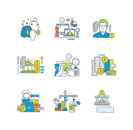 marketing research: Education and research, application development, finance and savings, design and management, marketing icons set over white background. Flat line icons for infographics design elements.
