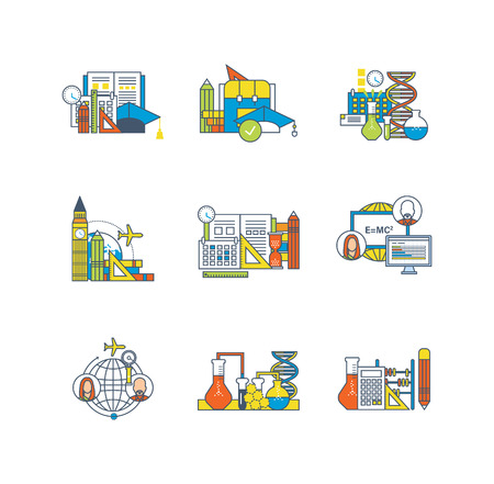 communications technology: Education, learning technology, research, experiments, communications, curriculum, study of foreign languages icons set over white background. Flat line icons for infographics design elements. Illustration