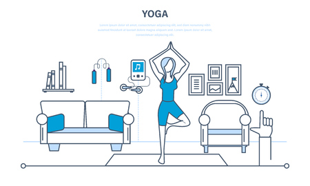 lifestyle home: Interior of the room, furniture for relaxing, quiet atmosphere. Girl at home, standing in a pose on the carpet, practices yoga. Healthy lifestyle. Illustration thin line design of vector doodles
