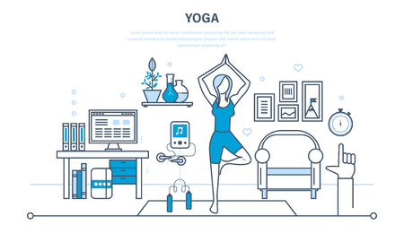 practices: Interior of the room, furniture for relaxing, quiet atmosphere. Girl at home, standing in a pose on the carpet, practices yoga. Illustration thin line design of vector doodles, infographics elements.