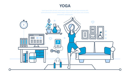 home furnishings: Interior of the room, furniture for relaxing. Girl at home, standing on the rug and pulling your hands up, taking a pose. Illustration thin line design of vector doodles, infographics elements. Illustration