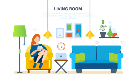 home furnishings: Interior of the room, furniture for relaxing, quiet atmosphere and comfort. Girl at home, resting and working with the tablet in the living room. Vector illustration.