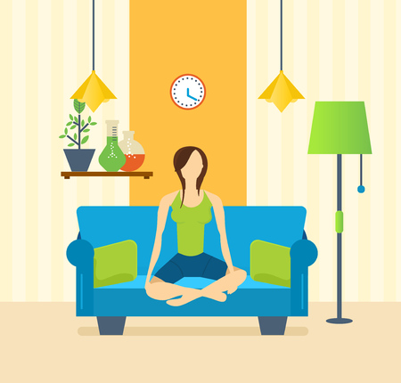 home furnishings: Girl in the lotus position on the couch, engaged in yoga, in a quiet, cozy, home environment, and restores strength and emotional balance. Healthy lifestyle. Vector illustration.