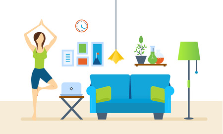 home furnishings: Interior of the room, furniture for relaxing. Girl at home, standing on the rug and pulling your hands up, taking a pose. Restores strength and emotional balance. Healthy lifestyle.