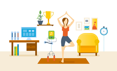 Interior of the room, furniture for relaxing. Girl at home, standing on the rug and pulling your hands up, taking a pose, and restores strength. Healthy lifestyle. Vector illustration.