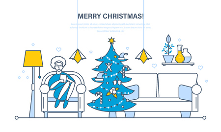 home furnishings: Christmas room interior. New Year festive atmosphere. The interior of the room, woman at home near a Christmas tree, recreation in the living room. Illustration thin line design of vector doodles Illustration