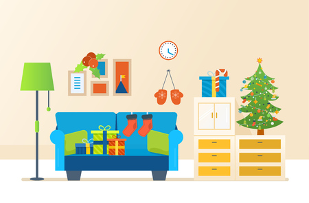 Merry Christmas. The atmosphere of the new year, festive interior of the room, furniture for relaxing, Christmas room interior. Vector illustration. Christmas tree, gifts, decoration, Illustration