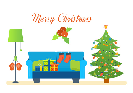 Merry Christmas. The atmosphere of the new year, festive interior of the room, furniture for relaxing, Christmas room interior. Christmas gifts. Vector illustration. Can be used as banners