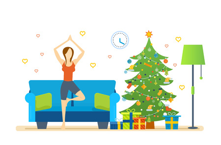 woman pose: Christmas room interior. Atmosphere of New Year. Interior of the room, woman near Christmas tree, standing on the rug and pulling your hands up, taking a pose. Healthy lifestyle. Vector illustration.