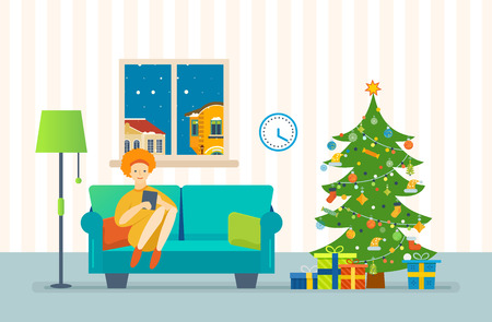 home furnishings: Christmas room interior. New Year festive atmosphere. Interior of the room, woman at home near a Christmas tree, recreation and working with the tablet in the living room. Vector illustration.