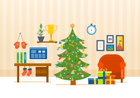 Merry Christmas. The atmosphere of the new year, festive interior of the room, furniture for relaxing, Christmas room interior. Vector illustration. Christmas tree, gifts, decoration,