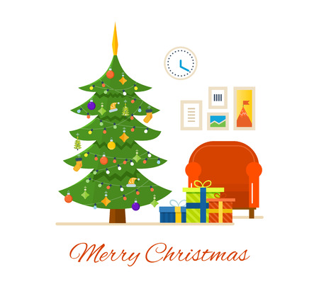 Merry Christmas. The atmosphere of the new year, festive interior of the room, Christmas tree decorated with toys and garlands, gifts. Vector illustration. Can be used as banners, materials. Illustration