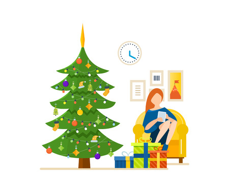 home furnishings: New Year festive atmosphere. Interior of the room, woman at home near a Christmas tree, recreation and working with the tablet in the living room. Vector illustration. Can be used as materials. Illustration