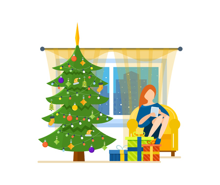 New Year festive atmosphere. Interior of the room, woman at home near a Christmas tree, recreation and working with the tablet in the living room. Vector illustration. Can be used as materials. Illustration