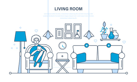 home furnishings: The cozy living room with furniture, a room for reception of guest, home furnishings and comfortable interior. Girl in the chair with the tablet. Illustration thin line design