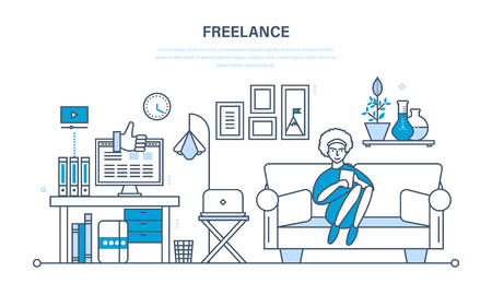 girl using laptop: Remote work as a freelancer, modern information technology, the workplace, tools freelancer and working space. Illustration thin line design of vector doodles, infographics elements. Illustration