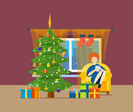 anticipation: New Year festive atmosphere. Interior of the room, girl working in the tablet and resting in a room near the Christmas tree, it is in a good mood and in anticipation of holiday. Vector illustration.