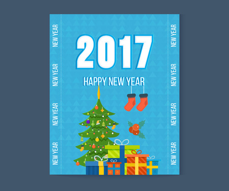 wishing card: Christmas wishing card with traditional celebrating text. Merry Christmas and Happy New Year greetings card with winter background. Winter holidays congratulation template. Vector illustration.