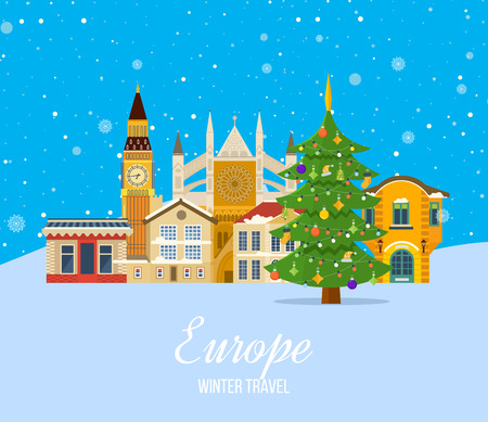 Winter travel to Europe. Merry Christmas. Festive atmosphere of New Year and festive mood, the snow-covered city streets and landscapes, facades and buildings. Vector illustration.