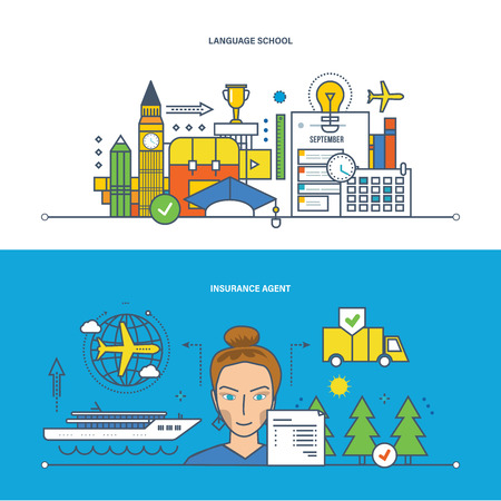 language: Concept of illustration - school and education, language school, insurance and finance, insurance agent, security of data. Vector design for website, banner, printed materials and mobile app. Illustration