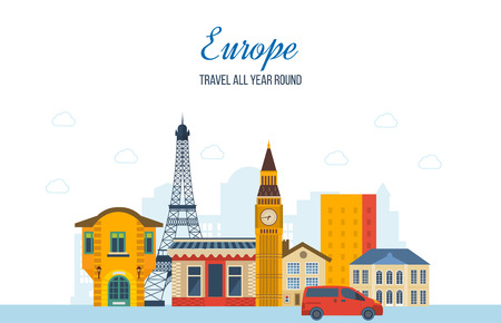 Trip to Europe. Festive atmosphere and festive mood, the city streets and landscapes, facades and buildings. Urban landscape. Vector illustration. Can be used as banners, materials.