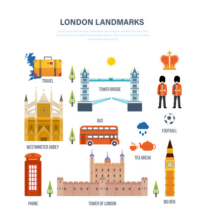 Concept of illustration - landmarks of London, its architecture and structure, culture and style, traditions and buildings. Vector design for website, banner, printed materials and mobile app. Векторная Иллюстрация
