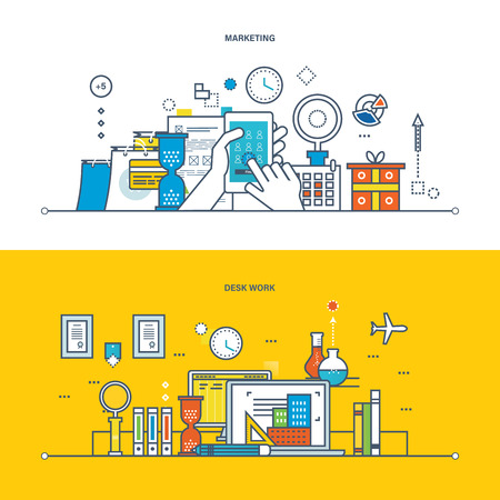 marketing research: Concept of illustration - marketing, work, workspace and environment, research and analysis, planning and accounting technology. Vector design for website, banner, printed materials and mobile app. Illustration