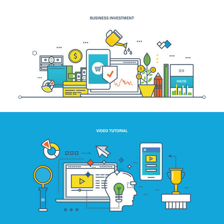 techology: Concept of illustration - business, investments, finance and management, modern techology and learning, education, video tutorial. Vector design for website, banner, printed materials and mobile app. Illustration
