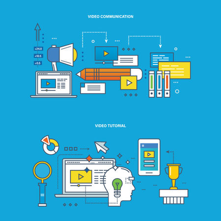 communications technology: Concept of illustration - communications and technology, modern education and learning, research, tutorial. Vector design for website, banner, printed materials and mobile app.